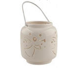 Porcelain white lantern with an angel 9.4 cm