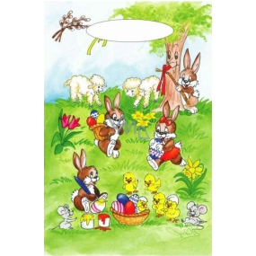 Angel Easter plastic bag Bunnies under the tree 32 x 20 x 4 cm