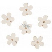 Wooden flowers with a peg 4 cm 6 pieces