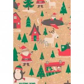 Ditipo Gift wrapping paper 70 x 200 cm Christmas KRAFT Santa green trees