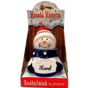 Nekupto Sněhuláček se jménem Karel Vánoční dekorace 034 rozměr 8 cm