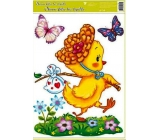 Room Decor Window foil without glue Easter big chicken on the hike 42 x 30 cm
