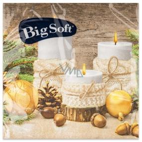 Big Soft Paper napkins 2 ply 33 x 33 cm 20 pieces Christmas Candles, flasks, acorns