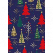 Ditipo Gift wrapping paper 70 x 200 cm Christmas blue gold, green and red trees