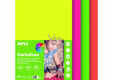 Apli Color papers A4 mix of colors Fluo 170 g 50 sheets