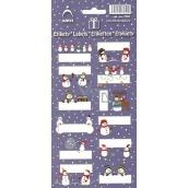 Arch Vánoční etikety samolepky Sněhuláci tmavě modrý arch 7051 12 etiket
