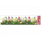 Window foil without glue stripes Tulips, daffodils 64 x 15 cm