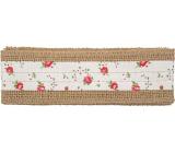 Jute ribbon with beige stripe and flowers width 6 cm, 2 m