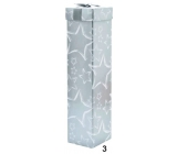 Gift box folding to bottle Christmas silver white stars 34 x 8 x 8 cm