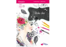 Boho Chic Glittering Coloring Book 8 sheets