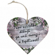Bohemia Gifts & Cosmetics Wooden decorative heart with print - Mrs. teacher, thank you 12 cm