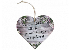 Bohemia Gifts Wooden decorative heart with print - Mrs. teacher, thank you 12 cm
