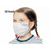 Veil 3-layer protective medical non-woven disposable, low respiratory resistance for children 10 pieces white without print
