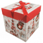 Folding gift box with Christmas ribbon with gifts and decorations 16.5 x 16.5 x 16.5 cm
