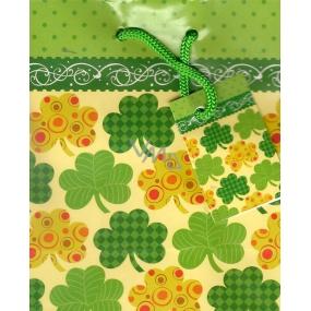 Nekupto Gift paper bag 14 x 11 x 6.5 cm Four-leaf clover 1173 50 KFS