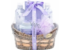 Raphael Rosalee Cosmetics Lavender shower gel 190 ml + bath foam 190 ml + body lotion 200 ml + bath salt 200 g + sponge + basket, cosmetic set