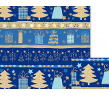 Nekupto Gift wrapping paper 70 x 200 cm Christmas Blue with trees and gifts