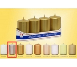 Lima Candle smooth metal silver cylinder 40 x 70 mm 4 pieces