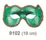 Ball mask with green ornaments 19 cm suitable for adults