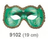 Škraboška plesová zelená s ornamenty 19 cm vhodná pro dospělé
