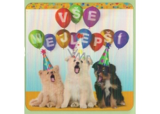 Albi 3D Envelope Greeting Card Dogs Happy Birthday 15.5 x 15.5 cm