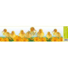 Room Decor Window foil without glue stripe Easter animals ducks and yellow gerberas 64 x 15 cm