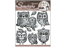 Room Decor Owl Wall Stickers with mirror effect and black glitter contour 40 x 31 cm 1 sheet