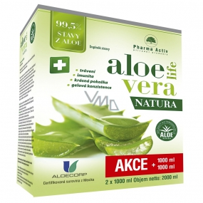 Pharma Activ AloeVeraLife Natura contains 99.5% aloe juice, to support defenses, food supplement 2 x 1000 ml, set