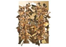 Bows textile gold on a plate 5 cm 12 pieces