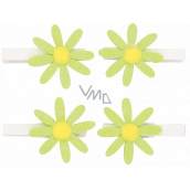 Green flowers with glitters on a 5 cm peg, 4 pieces in a bag