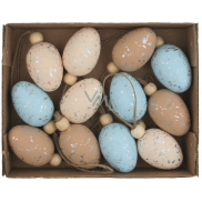 Glitter plastic eggs for hanging 4 cm, 12 pieces in a box