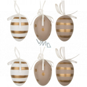 Eggs with gold stripes and plastic polka dots for hanging 6 cm, 6 pieces in a bag