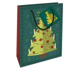 Nekupto Gift paper bag 14 x 11 x 6.5 cm Christmas green tree WBS 1923 50