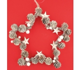 Wreath white star shape with cones 24 cm