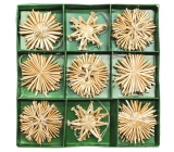 Straw decorations in box approx. 6 cm, 27 pieces