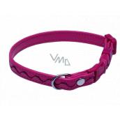 B&F Collar Leatherette adjustable stitched ripples pink 1.2 x 18 - 28 cm