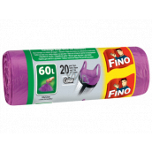 Fino Color Trash bags with handles purple 60 liters, 59 x 72 cm, 13 µm, 20 pieces