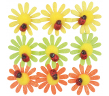 Self-adhesive flowers with glitters and ladybird 4 cm 9 pieces