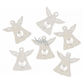 Wooden angel on a peg white 3 cm 6 pieces