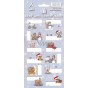 Arch Christmas labels stickers Teddy bears light blue arch of 12 labels