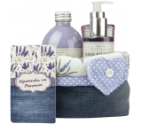 Bohemia Gifts Lavender La Provence Remembrance of Provence shower gel 250 ml + shampoo 200 ml + bath foam 500 ml + cloth basket, cosmetic set