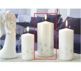 Lima Starlight candle white / silver cylinder 70 x 150 mm 1 piece