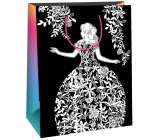 Ditipo Gift paper bag for painting white, black white checkers 22 x 10 x 29 cm Kreativ 40