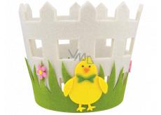 Felt flower pot cover with chicken 16 x 15 cm