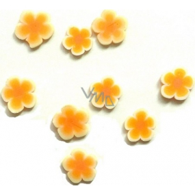 Professional Nail decorations flowers orange-white 132 1 pack