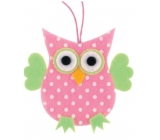 Felt owl with dots pink for hanging 7 cm