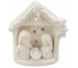 Porcelain nativity scene with LED lighting white 12 cm