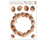 Room Decor Window foil without glue Wreath of brown eggs 30 x 42 cm