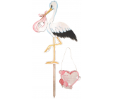 Wooden pink stork 35 x 45 cm