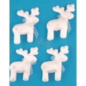 White reindeer on a clip 6 cm 4 pieces in a bag